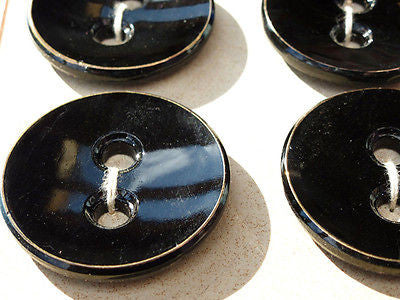 6 BIG 4.5cm Vintage Black + Gold Enamel Buttons on Display Card