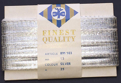 1.3cm Wide Shiny Vintage Silver Metal Ribbon 25m long