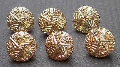 6 Vintage Star and Waves 1.3cm Glass Buttons