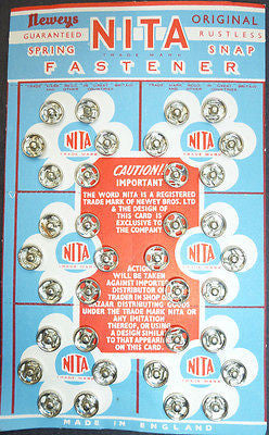 7mm NITA RUSTLESS SPRING SNAP FASTENER /Press studs - 36 on Vintage Display Card