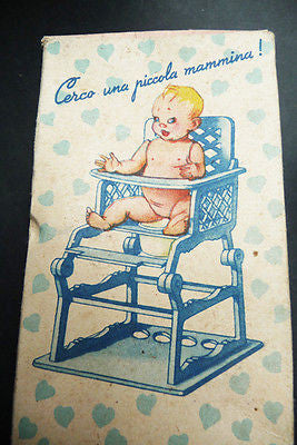 Wonderful Vintage Boxed Italian Moveable Doll, High Chair & Potty