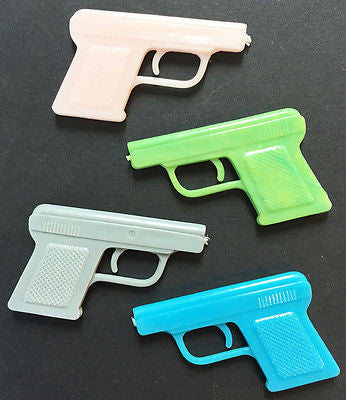 4 1970s  colourful automatic pistol toys - 3.5cm