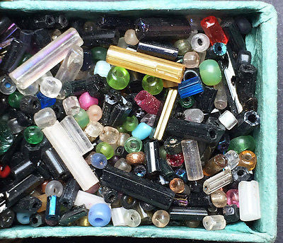 1920s Matchbox full of Tiny Assorted Glass Beads - Embroidery, Jewellery