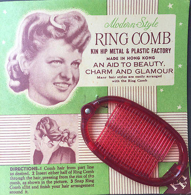 Modern Style Bright Red RING COMB -AN AID TO BEAUTY CHARM AND GLAMOUR