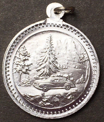 Essential St Christopher Medallion with 1940s Car - German - 2cm - Aluminium