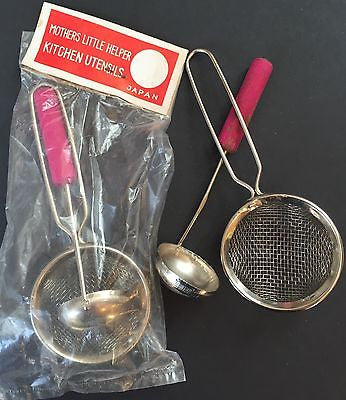 "1950s ""MOTHERS LITTLE HELPER KITCHEN UTENSILS"" Made in Japan"