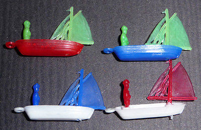 4 Lovely Little Vintage Sailing Boat Yacht Charms 3.5cm