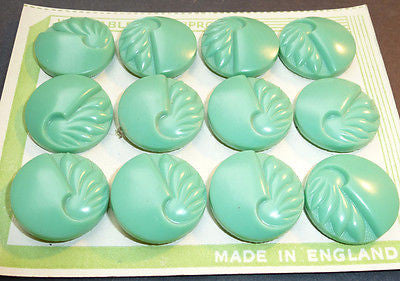 12 Green Catalin 1.8cm Deco Buttons- Made in ENGLAND