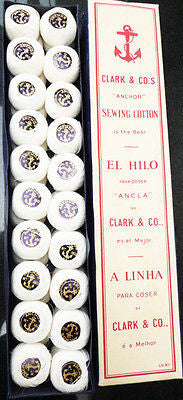 Vintage Box 40 balls White CLARK & Co's ANCHOR Sewing Cotton - LACEMAKING