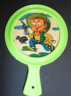 Weirdly Wonderful 1960s 10cm Cartoon Mirror -Cowboy, General, Clown or Teddy