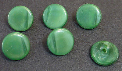 6 Vintage 8mm Dark Green Glass Buttons