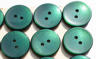 24 Lovely Rich Green Vintage 1.7cm Buttons