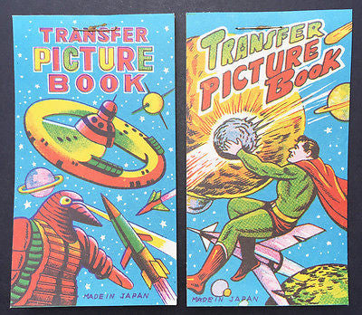 1950s Made in Japan SPACE  SUPERHERO Transfer Picture Books