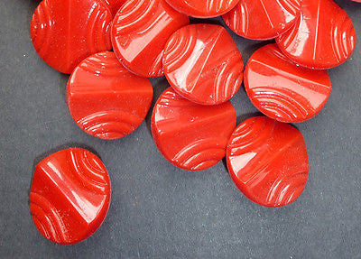 1 Gross -144 -  Vintage Red Deco 1.8cm Glass Buttons