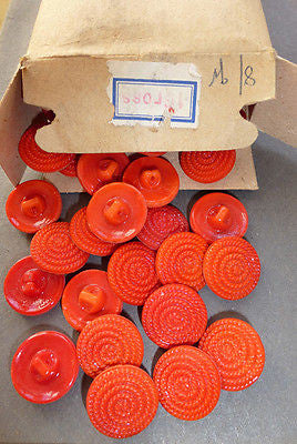 1 Gross -144 -Vintage Red Coiled Rope Glass Buttons