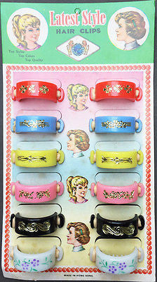Vintage 1950s Shop Display Card- 12 Big Flower Pony Tail Bands