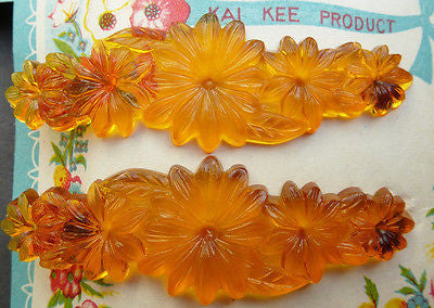 2 Vibrant Vintage Flower Hair Grips -Choice of 3 Colours - All Plastic
