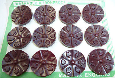 ACE Vintage Bakelite Playing Card Buttons - Made in England - Choice of Colours