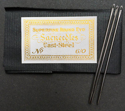 "25 STRONG 7cm Needles ""CAST STEEL SUPERFINE ROUND EYD Sacneedles"""