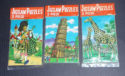 "Vintage ""Made in Japan"" Shop Display Box of 144 little Jigsaws - 6 different Puzzles"