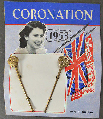 Genuine 1953 Queen Elizabeth 11 CORONATION Hair Grips with CROWNS