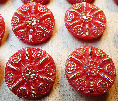 24 Sparkly 1.4cm Red and Gold Vintage Glass Buttons