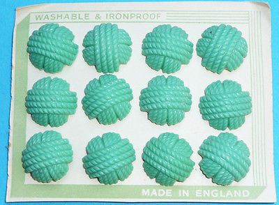 Choice of 3 Sizes - 1940s Pistachio Green Catalin Buttons -12 on English Card