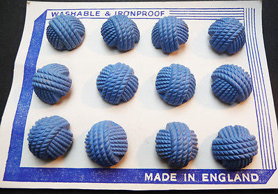 1940s Cornflower Blue Catalin Woven Thread 1.4, 1.7 or 2.2cm Buttons -12 on Card