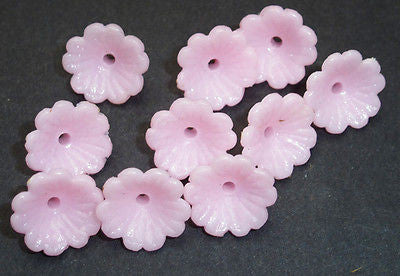 10 Pretty Pink Vintage Flower Buttons / Beads- 8mm tall, 12mm wide