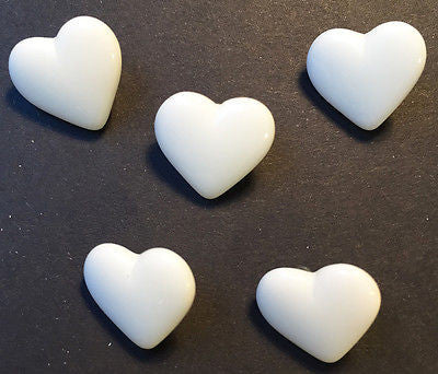5 Little Vintage 1.2cm White Glass Heart Buttons