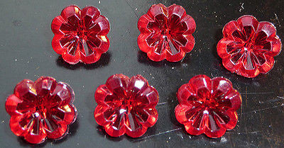 6 Ruby Red Vintage Flower Buttons -1.2cm wide