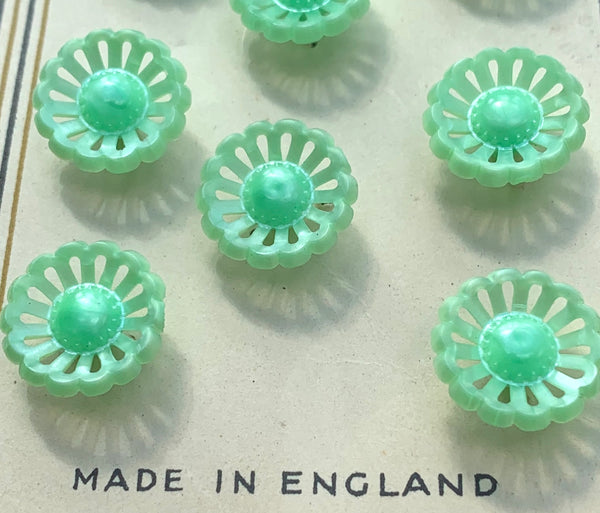 8 Delicate Pastel 1940s Flower Buttons 12mm wide Made in England