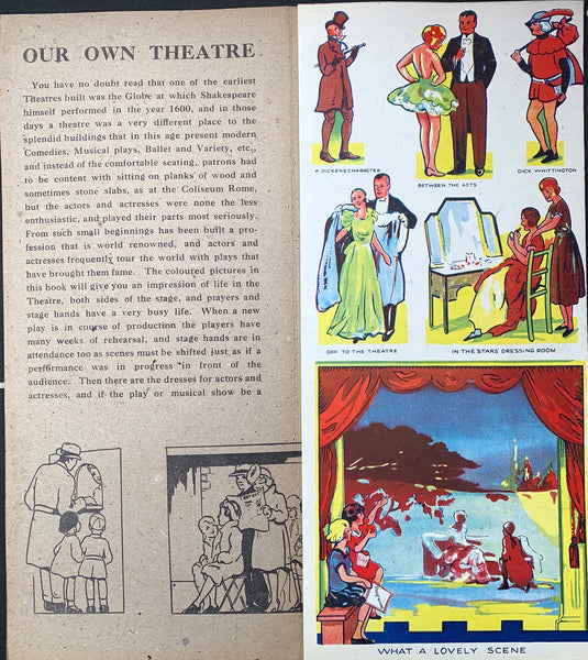 "1930s OUR OWN THEATRE Big 15"" Fold Out Book"
