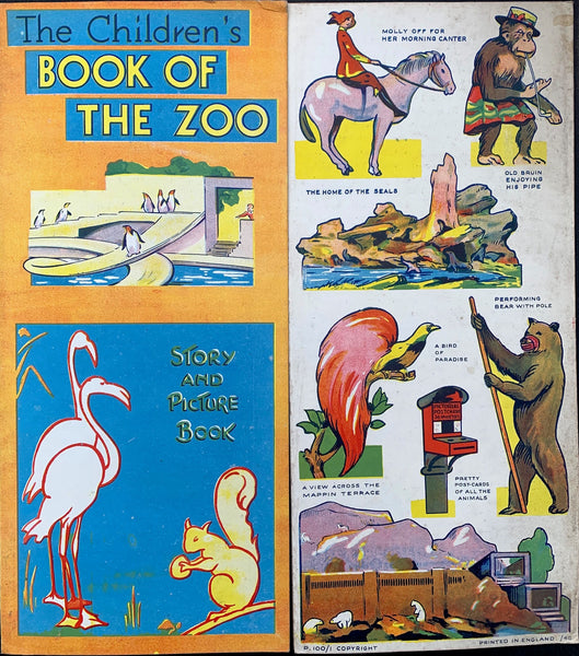 "1930s Big 15"" Fold Out Book of the Zoo - Pictures of London Zoo"