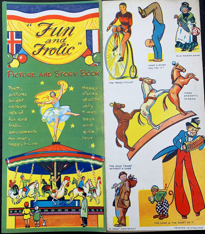"1930s Big 15"" Fold Out Fairground Book ""Fun and Frolic"" incl  Punch + Judy & Merry Go Round"