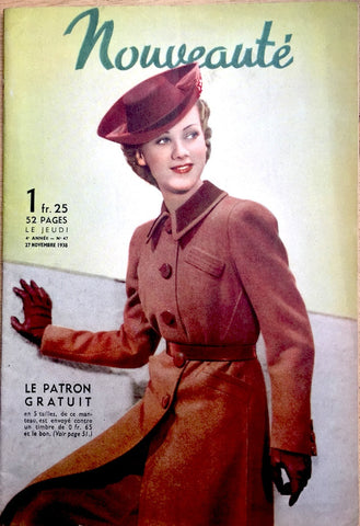 "November 1938 Fashions and Craft in French Womans Paper ""Nouveaute"""