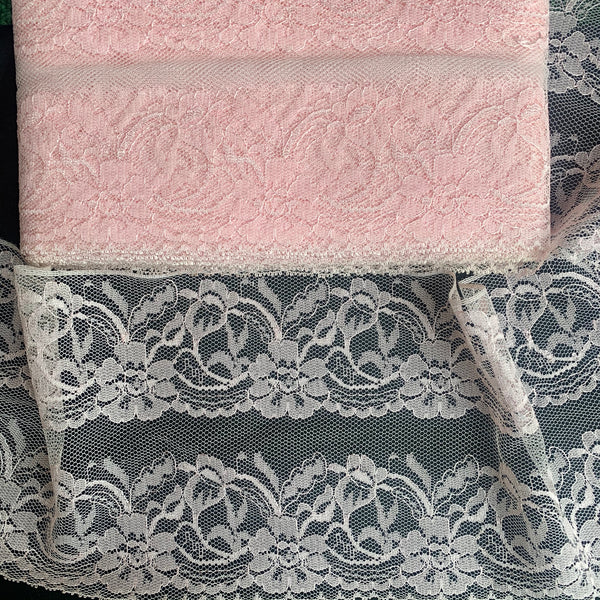 Impressive 14cm Wide Pale Pink Flowery Vintage Rayon Trim- by the Metre