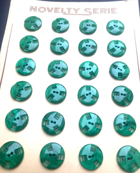 Glowing Emerald Green Vintage French  Casein 2.2cm or 1.6cm Buttons