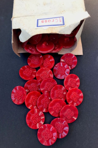 1 Gross (144) Vintage 1940s Czechoslovakian Glass Red Flower Buttons - Old Warehouse Find