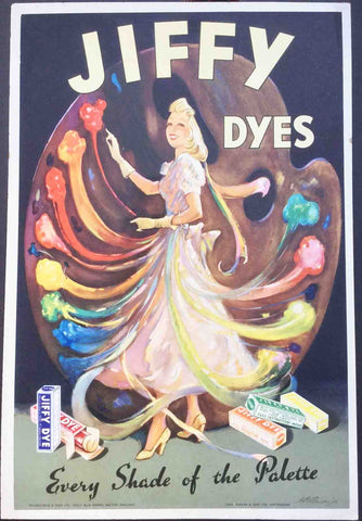 Glorious 1930s JIFFY DYES Point of Sale Card 18 x 27cm