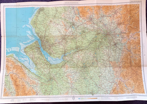 1940/50s Map of Merseyside and surrounding Area incl. Manchester, Rochdale and Chester