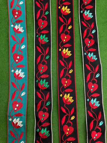 "Gorgeous VINTAGE French Leaves and Flowers Ribbon - 1"" wide - by the metre"