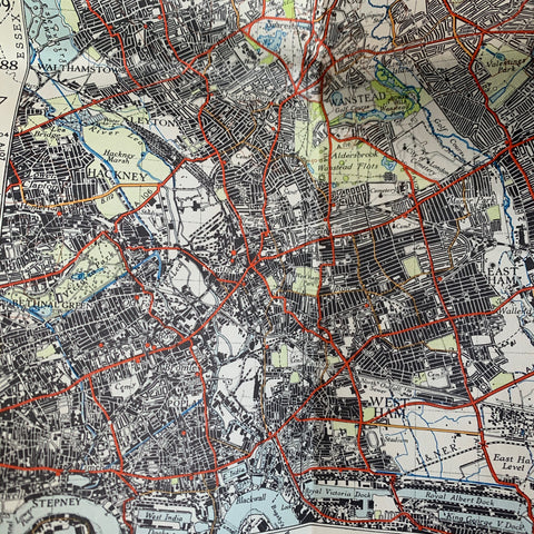 "Detailed 1940s ORDNANCE SURVEY MAPs of N.E LONDON into Hertfordshire & Essex 1"" to 1 Mile"