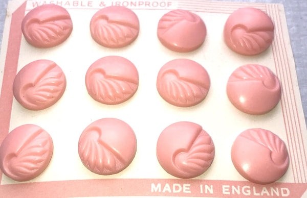 Pink 1.8cm English 1940s Catalin VERY Deco Buttons - 12 of them...