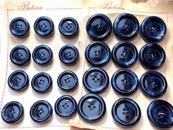 BIG Chunky 3.2cm or 2.7cm Vintage Very Dark Blue  Buttons - 12 of them
