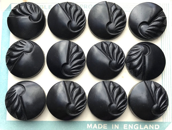 Black VERY Deco English 1940s Catalin Buttons - 12 of them - 2.2 & 1.8cm