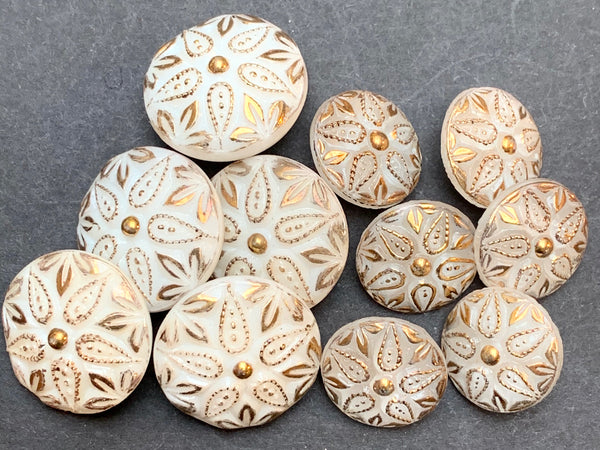 Regal White and Gold Vintage Glass 1.4cm or 2cm Buttons