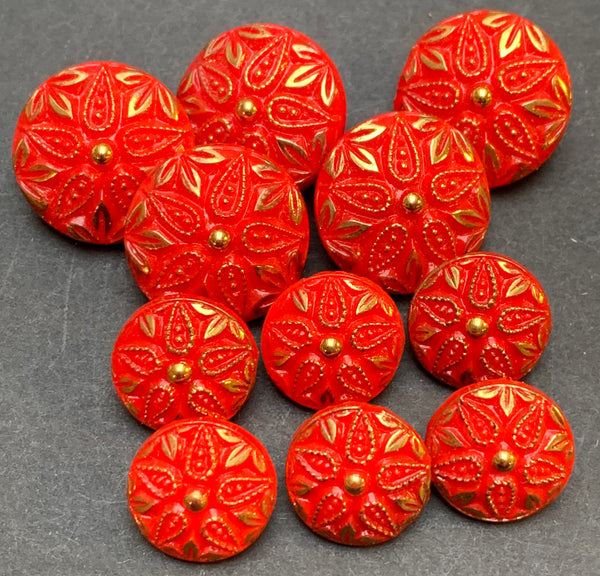Vibrant Red and Gold Vintage Glass 1.4cm or 2cm Buttons