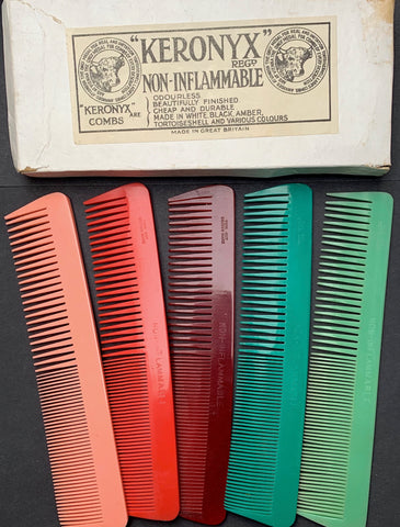 "1920s BIG ""NON-INFLAMABLE"" Combs - KERONYX Aberdeen Combworks"
