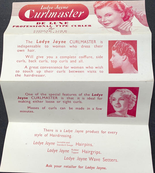 "Unused 1940s Lady Jayne Curlmaster for Home Use ""DE LUXE PROFESSIONAL TYPE CURLER"""